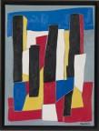Dean Tavoularis, huile et collage sur toile, exécutée en 2004, signée en bas à droite, 60x81cm.