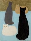 Jean-Denis Malclès, Chats sur fond bleu, pastel à l'huile.