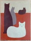 Jean-Denis Malclès, Chats sur fond rouge, pastel à l'huile.