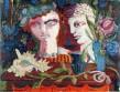 Jean-Denis Malclès, Portraits au coquillage, huile.