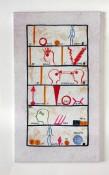 """Bernard Quentin, """"Je pense, j'écris"""", exécuté en 2000, céramique Valoris, 30 x 17 cm."""