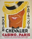 """Charles Kiffer, estampe pour """"Paris en joie"""" avec Maurice Chevalier au Casino de Paris"""" en 1938."""