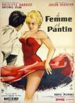 """Estampe pour """"La femme et le pantin"""", film de Julien Duvivier avec Brigitte Bardot, Antonio Vilar et Dario Moreno, 1959."""