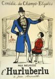 """Jean-Denis Malclès, estampe pour """"L'Hurluberlu"""" de Jean Anouilh avec Paul Meurisse à la Comédie des Champs-Elysées, 1959."""