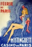 """J. D. Van Caulaert, estampe pour """"Féérie de Paris"""" avec Mistinguett au Casino de Paris, 1937."""