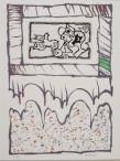 """Pierre Alechinsky """"Lucarne""""Album constitué de 4 gravures Atelier Piero Crommelynck Eau-forte et aquatinte signée et numérotée """"27/30"""" encadrée d'une lithographie 58,5 x 78 cm"""