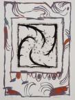 """Pierre Alechinsky """"Lucarne"""" Album constitué de 4 gravures Atelier Piero Crommelynck Eau-forte et aquatinte signée et numérotée """"27/30"""" encadrée d'une lithographie 58,5 x 78 cm"""