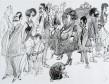 Ettore Scola, 004, dessin original à l'encre de chine, non daté, signé, 36x48 cm.