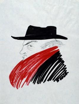 """Ettore Scola,""""Fellini"""", F10, dessin original à l'encre de chine, non daté, signé, 21x29.7cm."""