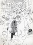 "Ettore Scola,""Marcello Mastroianni "", 118, dessin original à l'encre de chine, non daté, signé, 21x29.7cm."