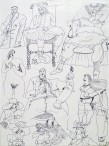 Ettore Scola, 53, dessin original à l'encre de chine, non daté, signé, 21x29.7cm.
