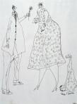 Ettore Scola, 76, dessin original à l'encre de chine, non daté, signé, 21x29.7cm.