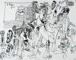 Ettore Scola, 095, dessin original à l'encre de chine, non daté, signé, 21x29.7cm.