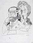 Ettore Scola, 074, dessin original à l'encre de chine, non daté, signé, 21x29.7cm.