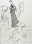 Ettore Scola, 010, dessin original à l'encre de chine, non daté, signé, 36x48cm.