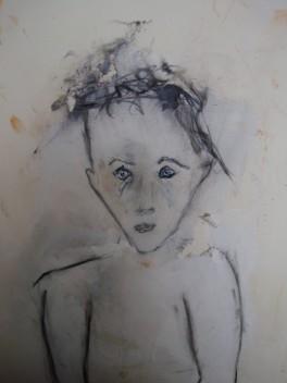 Louise Tilleke, Le petit garçon, Techniques mixtes sur papier coréen