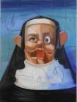 """George Condo, """"The Nun"""", 2008, Huile sur toile, 40,6 x 30,5 cm"""