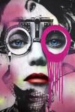 Composition photographique : Jérôme Revon Street-Artist : Dain ORTHOMETRY FUSCHIA Brooklyn, 2014, Tirage unique sur papier métallique contrecollé sous diasec, 135 x 90 cm
