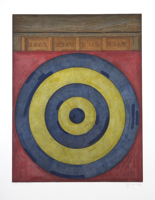 Jasper Johns, Target with four faces, 1979 Eau-forte et aquatunte en couleurs Epreuvé datée, signée et dédicacée à Piero Crommelynck «Proof for Piero». Atelier A. et P. Crommelynck 76,2 x 55,9 cm © Jasper Johns / ADAGP, Paris, 2014