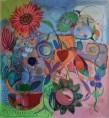 Catherine Starkman, Vous avez dit fleurs ?, 2014, Huile sur toile, 212 x 198 cm