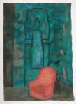 Marie Hugo Fauteuil rouge, 2015 Pigments sur Arche 62 x 44 cm