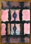 Marie Hugo Découpes à l'aube, 2015 Pigments sur Arche 62 x 44 cm