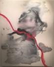 Marie Hugo, 013-29T, Rhône, Encre de Chine et pigments rouges sur toile, 140 x 175 cm