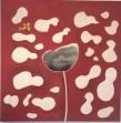 Marie Hugo, 011-16T, Lotus noir, Encre de Chine, et pigments rouges sur toile, 150 x 150 cm